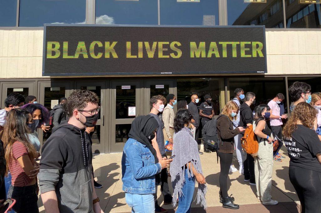 SBU NAACP & Black Student Athlete Huddle Lead Campus Protest